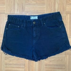 Free People Navy Frayed Hem Shorts